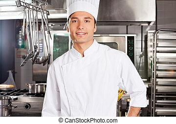 chef, macho, feliz