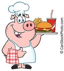 chef, maiale, cartone animato, mascotte, carattere, presa a terra, uno, vassoio, di, fast food, e, dare, uno, pollice