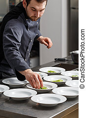 Chef making a lunch dish