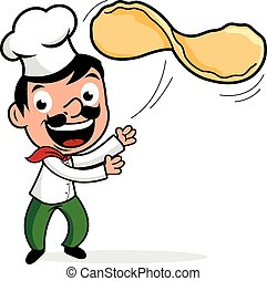 Cartoon Italian chef tossing pizza dough in chef uniform. Vector illustration