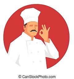 Chef making 'OK' hand sign
