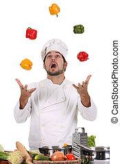 chef, malabarismo, con, pimientas
