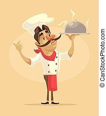 Chef man character hold dish. Vector flat cartoon illustration