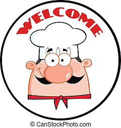 Chef Man Face Cartoon Circle Label