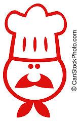 Chef Man Face Red Cartoon Mascot