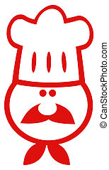 Chef Man Face Red Cartoon Mascot - Red And White Chef Face...