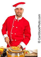 Chef man in kitchen