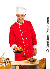 Chef man tossing macaroni
