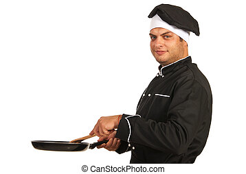Chef man with frying pan