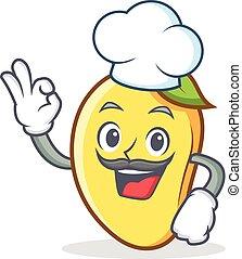 Chef mango character cartoon mascot