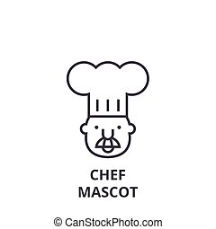 chef mascot line icon, outline sign, linear symbol, vector, flat illustration