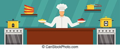 Chef master cooking banner horizontal, flat style