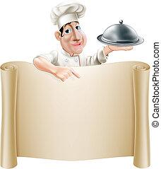 chef, menú, caricatura, señalar