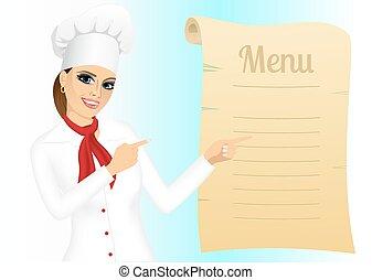 chef, menú, hembra, señalar, feliz