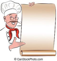 chef, menú, imagen, sonriente, blanco