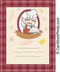 chef, menú, marco, orden