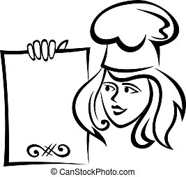 chef, menú, papel, restaurante