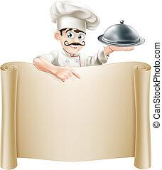 chef, menú, rúbrica