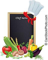 chef, menú, tabla, y, vegetales