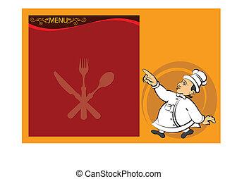 chef, menú, tarjeta, diseño, plantilla