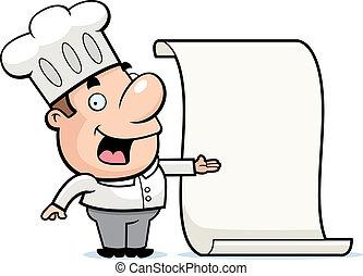 Chef Menu - A happy cartoon chef with a menu.