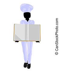 Chef Menu Art Illustration Silhouette - Chef holding a blank...