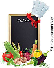 Chef menu board and vegetables. Contains transparent...
