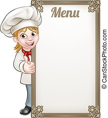 chef, menu, donna, cartone animato