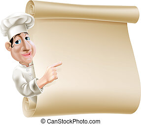 chef, menu, rotolo, illustrazione
