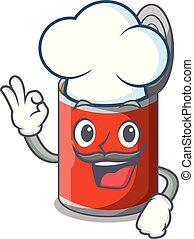 Chef metal food cans on a cartoon vector illustration