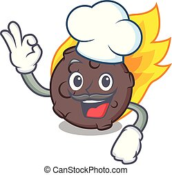 Chef meteorite character cartoon style vector illustration
