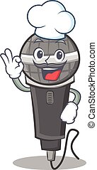 Chef microphone cartoon character design