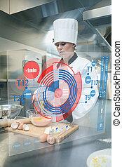 chef, mientras, masa, pastel, convictos, elaboración