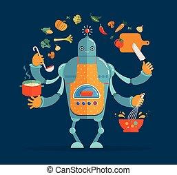 chef, multitáreas, cocina, hornada, robot