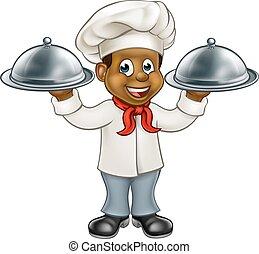 chef, negro, carácter, caricatura