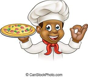 chef, nero, cartone animato, pizza