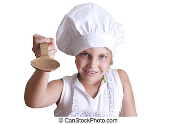 chef, niña, ropa, joven, cocina