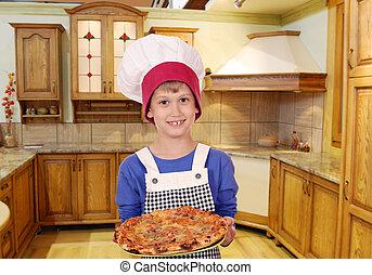 chef, niño, cocina, pizza