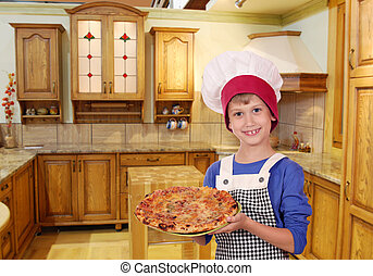 chef, niño, feliz, pizza, cocina