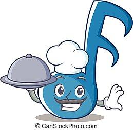 chef, nota musica, carattere, cartone animato