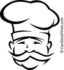 chef, o, cocinero, con, un, manillar, bigote