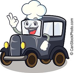 Chef old car isolated in the cartoon