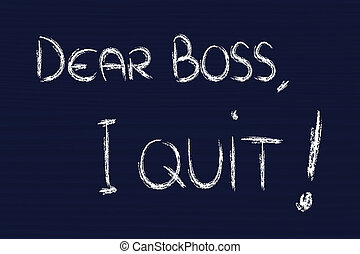 chef, olycklig, quit:, anställd, kär, meddelande