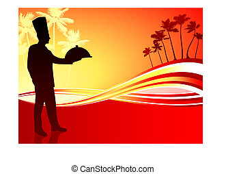 Chef on abstract tropical background