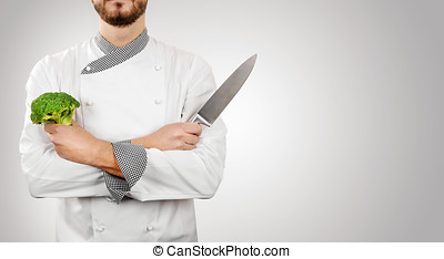 chef on gray background with copy space