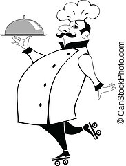 Chef cook on roller skates bringing a platter, black and white vector cartoon