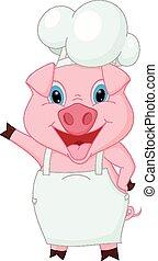 chef, ondeggiare, cartone animato, maiale, mano