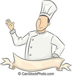 chef, ondulación, hombre, cinta, mano