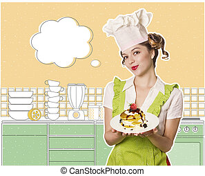 chef, panqueques, mujer, dulce