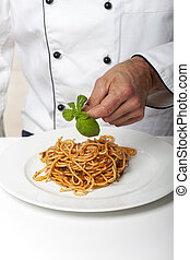 chef, pastas, decorar, plato